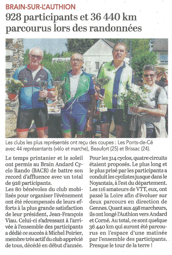 Article du Courrier de l'Ouest du 8 mai 2018